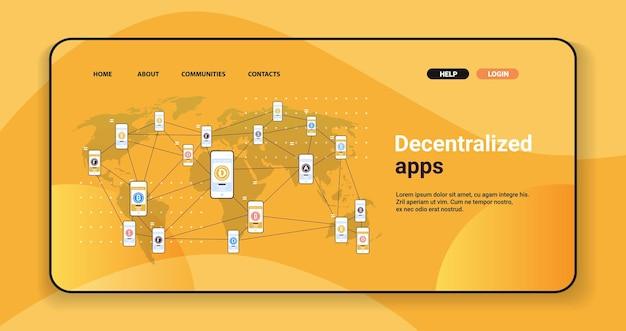 Defi dezentrale apps auf smartphone-bildschirmen kryptowährungs- und blockchain-technologiekonzept