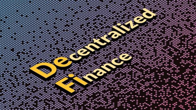 Defi - dezentralisierte finanzen, isometrischer text auf fragmentiertem matrixhintergrund. ökosystem von finanzanwendungen und -diensten basierend auf öffentlichen blockchains. vektor-illustration.