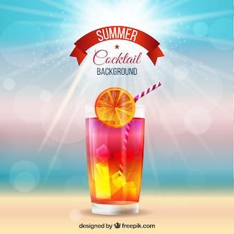 Defocused strand hintergrund mit cocktail
