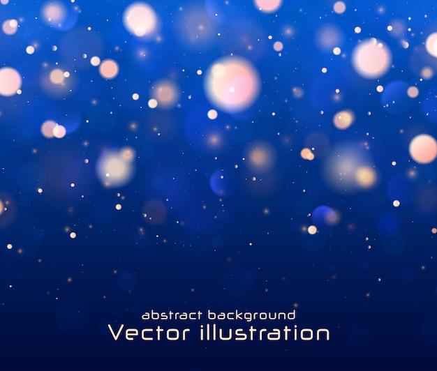 Defokussiert blinkende sterne, funken auf dunkelblauem hintergrund.