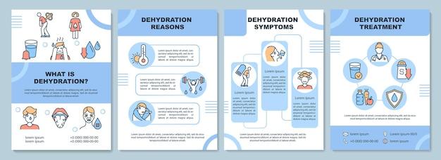 Dehydration broschürenvorlage. gründe und symptome für wasserverlust. flyer, broschüre, broschürendruck, cover-design mit linearen symbolen. vektorlayouts für präsentationen, geschäftsberichte, anzeigenseiten