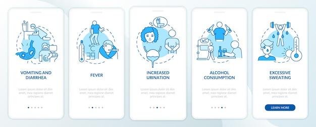 Dehydration führt zu blauem onboarding-seitenbildschirm der mobilen app. verlust von wasserfaktoren walkthrough 5 schritte grafische anweisungen mit konzepten. ui-, ux-, gui-vektorvorlage mit linearen farbillustrationen