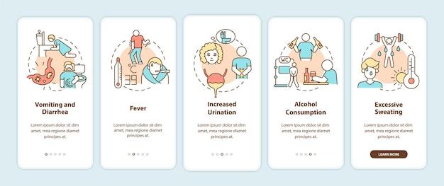 Dehydration führt zum onboarding des bildschirms der mobilen app. verlust von wasserfaktoren walkthrough 5 schritte grafische anweisungen mit konzepten. ui-, ux-, gui-vektorvorlage mit linearen farbillustrationen