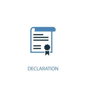 Deklaration konzept 2 farbiges symbol. einfache blaue elementillustration. deklaration konzept symbol design. kann für web- und mobile ui/ux verwendet werden