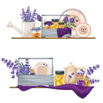 Dekor kompositionen im lavendel-provance-stil