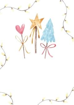 Dekor neujahr weihnachten dekorative bäume und sterne herzen kinder illustration in aquarell