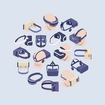 Dekoration aus isometrischen virtual-reality-headsets