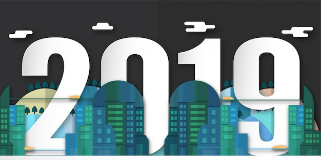 Dekoration des guten rutsch ins neue jahr 2019 nachts mit städtischer stadt im papierschnitt und im digitalen handwerk.