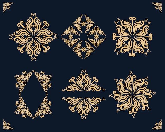 Dekoration goldene dekorative mandala-element-sammlung