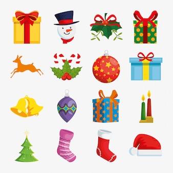 Dekoration weihnachten mit icons set