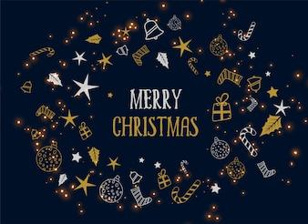 Dekorations-Dunkelheitshintergrund der frohen Weihnachten