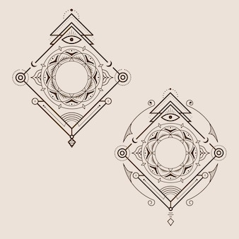 Dekorations-weinlese-geometrie-logo