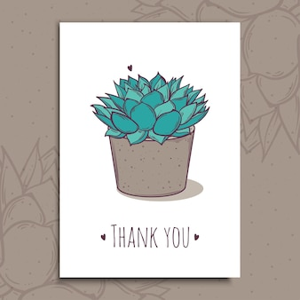 Dekorationspflanze saftige polyphilla. grußpostkarte danke text. illustration. kaktusaloe