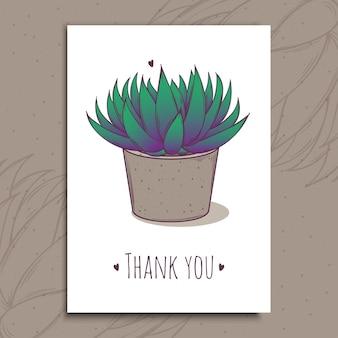 Dekorationspflanze sukkulente astroloba tenax. grußpostkarte danke text. illustration. kaktusaloe