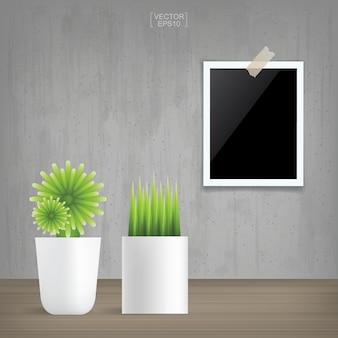 Dekorationspflanze und leerer bilderrahmen im vintage-innenraumhintergrund. vektor-illustration.