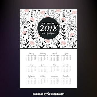 Dekorative 2018 kalender mit rosa blüten