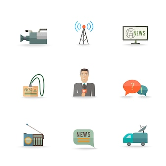 Dekorative aktuelle nachrichten leben ausrüstungskamera-logokartendesignikonen des journalismusbetreibers eingestellte ebene lokalisierte illustration