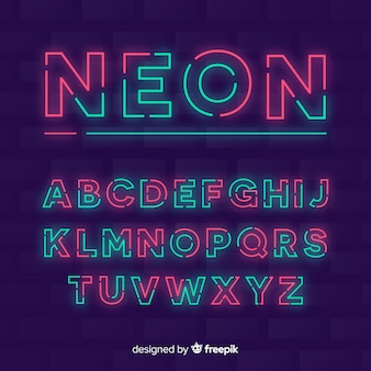 Dekorative alphabet vorlage neon stytle