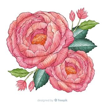 Dekorative aquarellkorallenblume