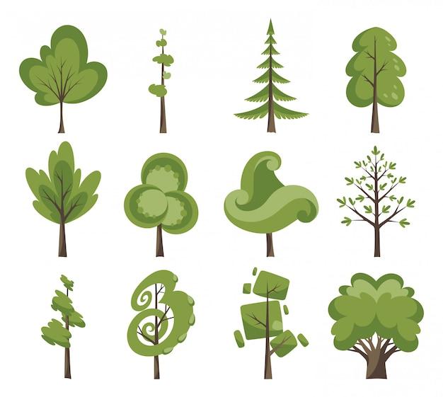 Dekorative bäume gesetzt. flache bäume in flacher bauform. isoliert