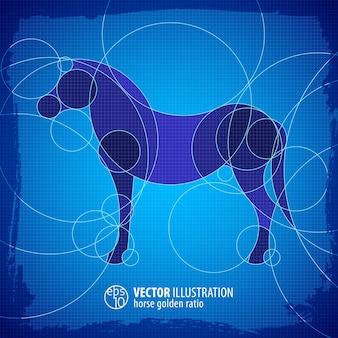 Dekorative blaue schemaillustration des stehenden pferdes mit titel flach