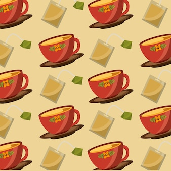 Dekorative blume in tassen tee und teebeutel kräuterzeit muster