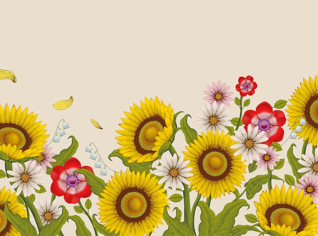 Dekorative blumen, sonnenblumen und wildblumen im radierungsschattierungsstil auf beigem hintergrund, bunter ton