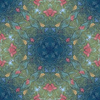 Dekorative blumenkomposition mit stilisierten roten mohnblumen und glockenblumen. nahtloses muster des mittelalterlichen gotischen stils.