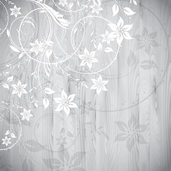 Dekorative blumenmuster auf einem holz textur hintergrund