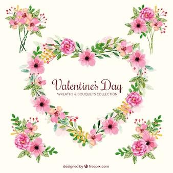 Dekorative blumensträuße und kranz für den valentinstag