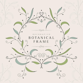 Dekorative botanische kurvige grafik verlässt rahmenschablone