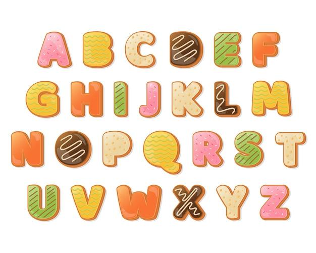 Dekorative bunte donut-schriftart und alphabet