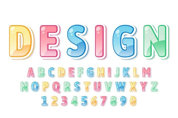 Dekorative bunte schrift und alphabet