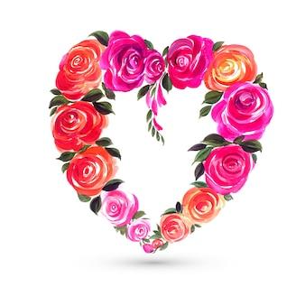 Dekorative bunte valentinstagblumenherz-formkarte