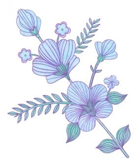 Dekorative dekorative blaue blumen im russischen gzhel-stil lokalisiert auf weißem hintergrund