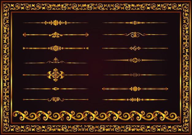 Dekorative dekorative linien des vektors elemente für designgoldfarbe