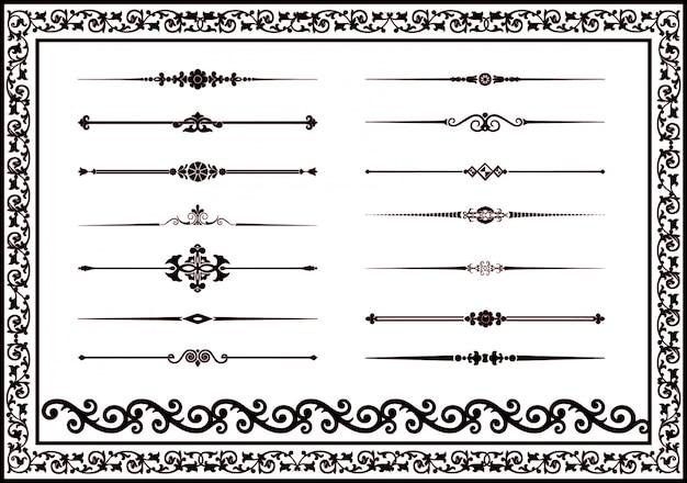 Dekorative dekorative linien des vektors elemente für designschwarzfarbe