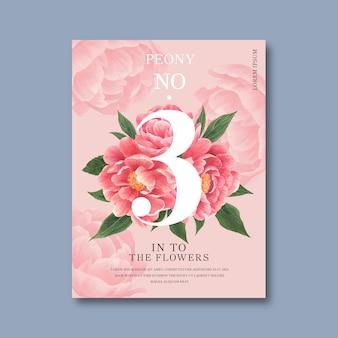 Dekorative einladung des blumenblüten-plakats