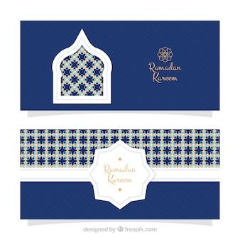 Dekorative einladung von ramadan kareem mit mosaiken