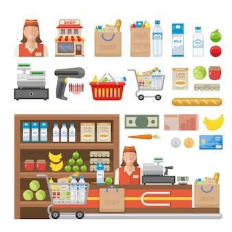 Dekorative elemente des supermarkts, die mit mitarbeiterausstattung des geschäftslebensmittels bargeld und der isolierten vektorillustration der bankkarte eingestellt werden