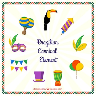 Dekorative elemente für brasilianische karneval