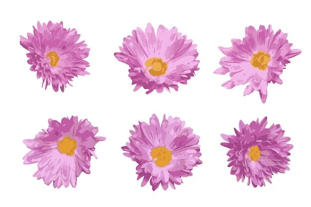 Dekorative elemente mit rosa blumen