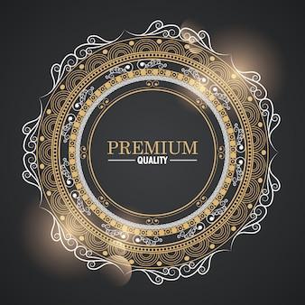 Dekorative emblemkarikatur der runden ikone