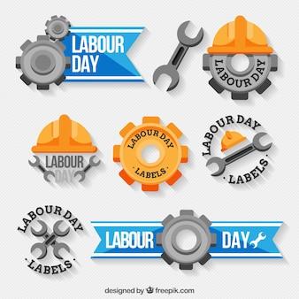 Dekorative etiketten mit großartigen designs für arbeitstag