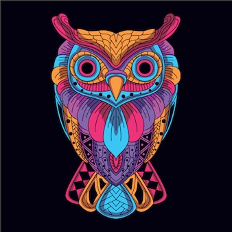 Dekorative eule aus leuchtender neonfarbe