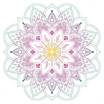 Dekorative farbige Mandala in Pfirsich- und Grüntönen. Linien zeichnen. Pflanzenmotive