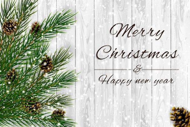 Dekorative fichtenzweige mit tannenzapfen und schnee auf weißem holzhintergrund, weihnachtsthemaillustration.
