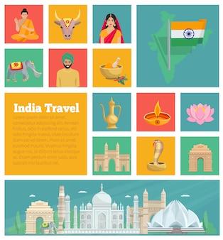 Dekorative flache ikonen indiens mit kartenarchitekturküche und nationalklagen lokalisierten vektorillustration