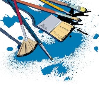 Dekorative flache pinsel malen smear schläge und dip pen tinte flecken schablone poster doodle skizze vektor-illustration
