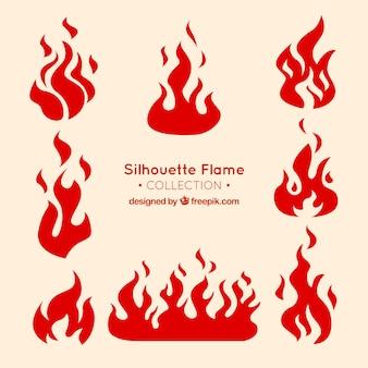 Dekorative flamme silhouetten